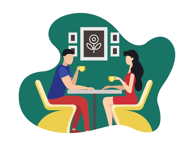 Coworking rest and relaxation area cartoon flat. Premium Vector