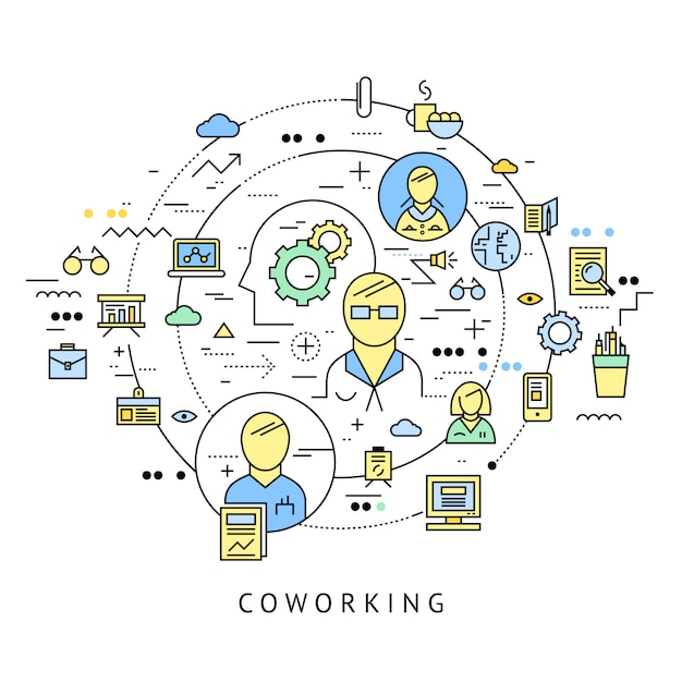Coworking round composition with isolated line icon set combined in big circle vector illustration Free Vector