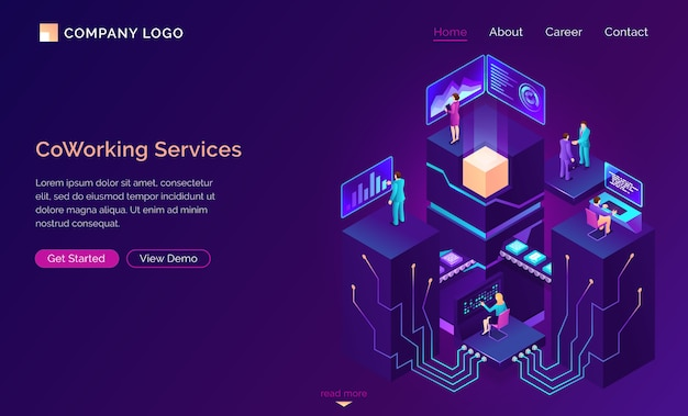 Coworking service, isometric workspaces, employee Free Vector