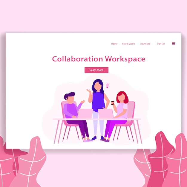 Coworking space illustration landing page Premium Vector
