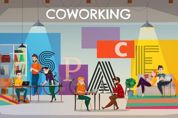 Illustrazione dello spazio di coworking Vettore gratuito