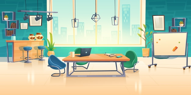 Coworking space interior, empty office business center with computer on desks Free Vector