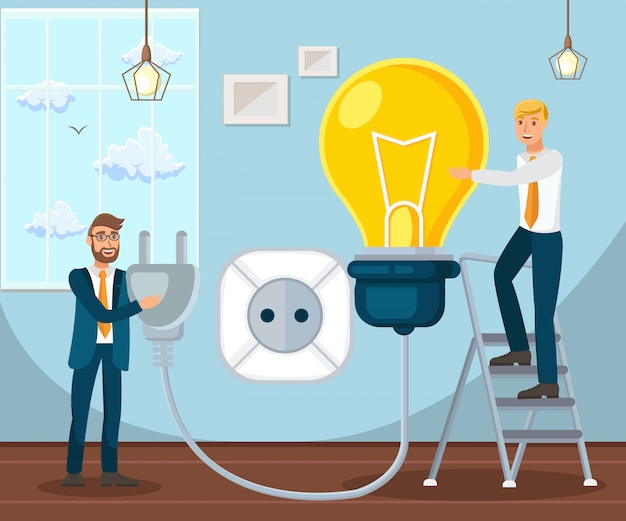 Coworking  startup launch flat Premium Vector