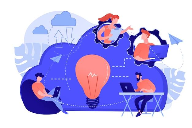 Коворкинг-команда пользователей связана облачными вычислениями и лампочкой. совместная работа в интернете, удаленное управление бизнесом, концепция беспроводных вычислений. изолированная иллюстрация вектора. Бесплатные векторы