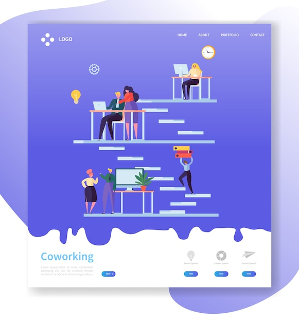 Coworking team work landing page. open workspace concept with  people characters working together website template. Premium Vector