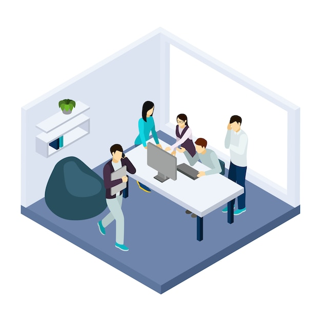Coworking and teamwork illustration Free Vector