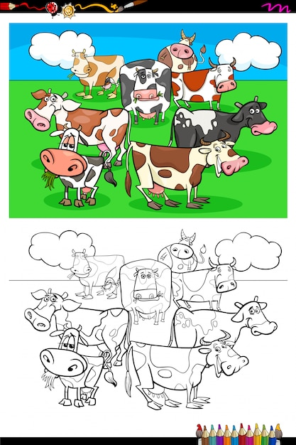 Cows farm animal characters group color book Premium Vector