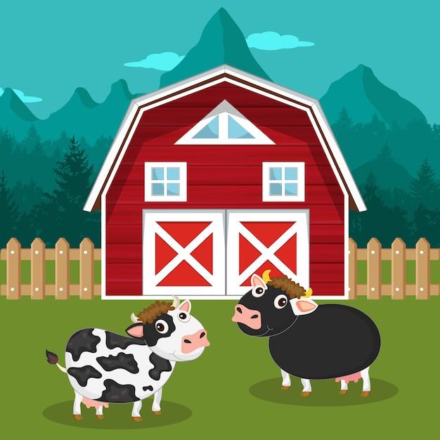 Cows in the farm scene Premium Vector
