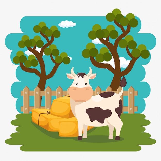 Cows in the farm scene Free Vector