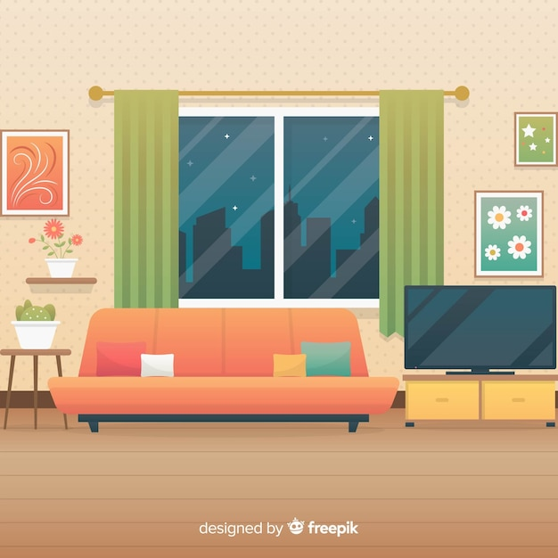Cozy Living Room Vector Illustration: Cozy And Modern Living Room With Flat Design Vector