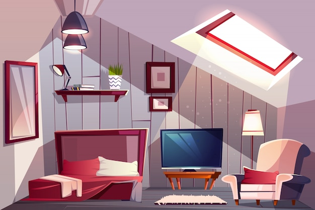 Cozy attic bedroom or guest room interior with uncovered bed Free Vector