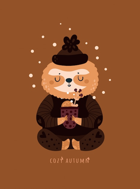 Cozy autumn. cute sloth with cup of herbal tea Premium Vector