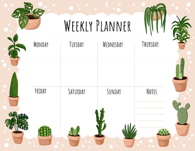 Cozy boho weekly planner and to do list with hygge potted succulent plants ornament. cute lagom template for agenda, planners Premium Vector