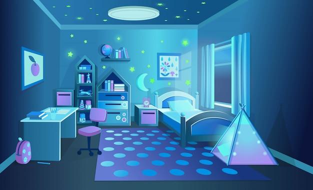 Уютная детская комната с игрушками на ночь. векторные иллюстрации в мультяшном стиле. Premium векторы