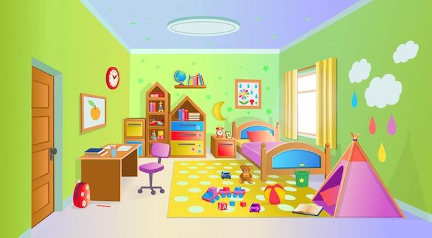 おもちゃのある居心地の良い子供部屋。漫画のスタイルのベクトルイラスト。 Premiumベクター