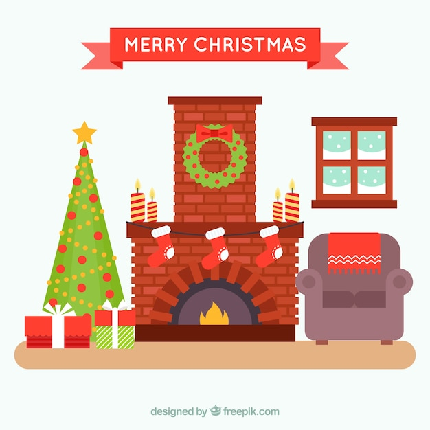 Cozy Living Room Vector Illustration: Cozy Christmas Living Room With Fireplace Vector