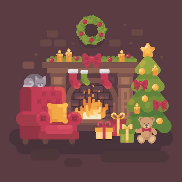 Cozy decorated christmas room with a fireplace Premium Vector