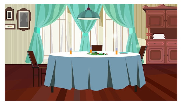 Cozy dining room with table illustration Free Vector