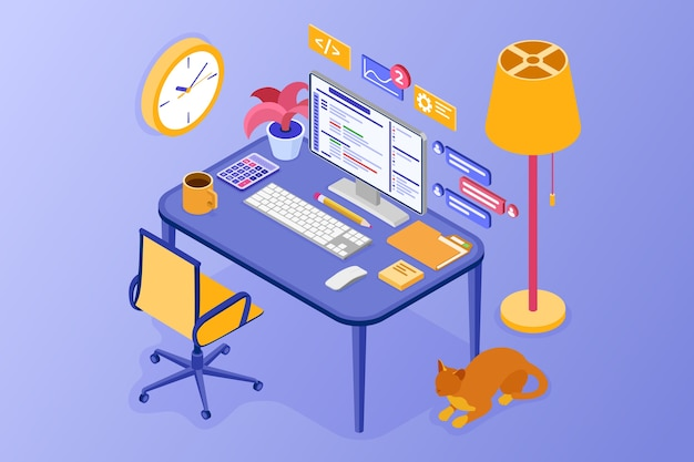 Cozy home office. work from home concept. developing program. computer table chair and desktop pc. Premium Vector