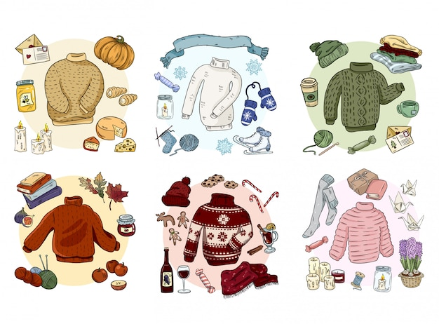 Cozy hygge doodles collection set. cute stickers Premium Vector