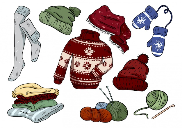 Cozy hygge doodles. cute clothes casual stickers. plaids, yarn, knitting, hat, sweater, stockings Premium Vector