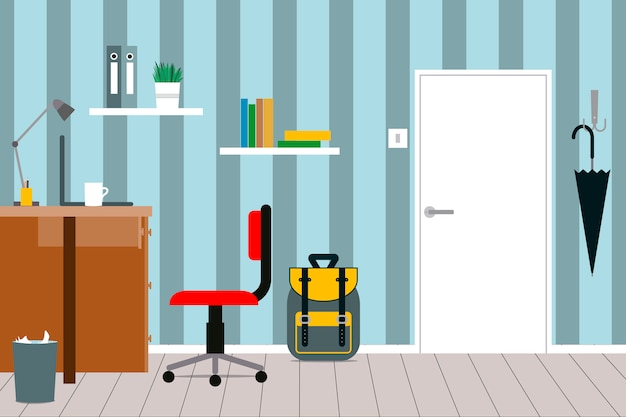 A cozy interior of a children's room with furniture Premium Vector