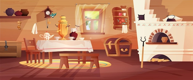 Cozy interior of the russian hut. Premium Vector
