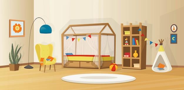 Уютный детский интерьер с игрушками, кроватью, книжным шкафом, креслом, детской палаткой и лампой. скандинавский векторный интерьер в мультяшном стиле. Premium векторы