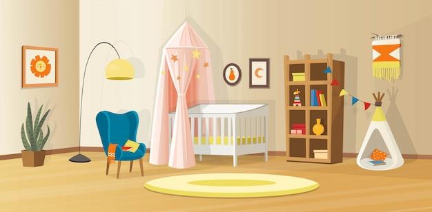 Уютный детский интерьер с игрушками, люлькой, книжным шкафом, креслом, детской палаткой и лампой. скандинавский векторный интерьер в мультяшном стиле. Premium векторы