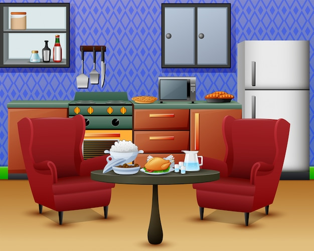 Cozy kitchen interior with furniture and set of dining table Premium Vector