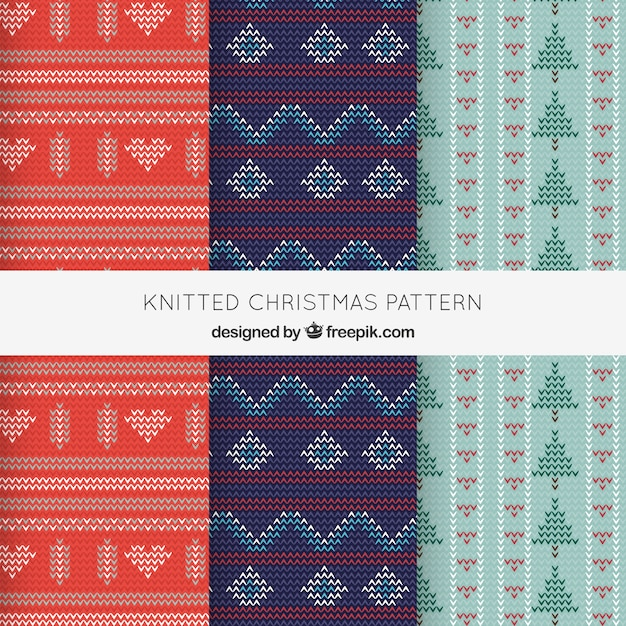 Cozy knitted christmas patterns Free Vector