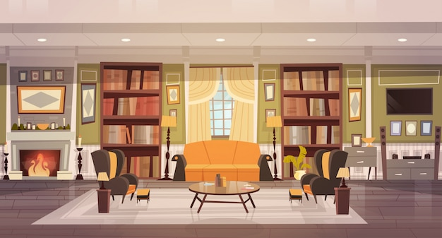 Cozy living room interior design with furniture, sofa, table armchairs, fireplace bookcase Premium Vector