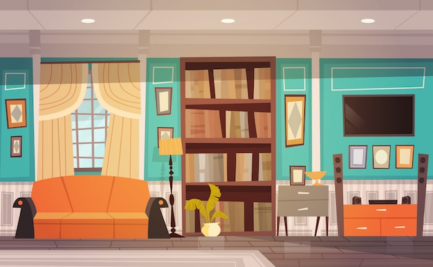 Cozy living room interior design with furniture, window, sofa, bookcase and tv Premium Vector