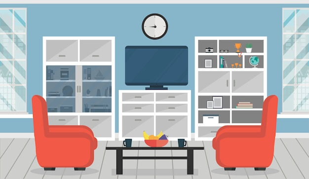 Cozy living room interior with armchairs, cupboards, table, tv and window. Premium Vector