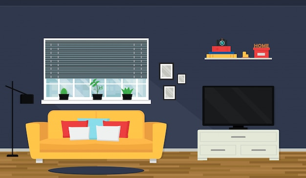 Cozy living room interior with sofa and tv.  window with cityscape view. modern apartment. Premium Vector