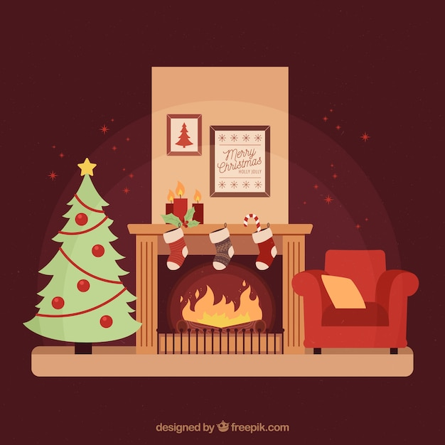 Cozy Living Room Vector Illustration: Cozy Living Room With A Christmas Tree And A Fireplace