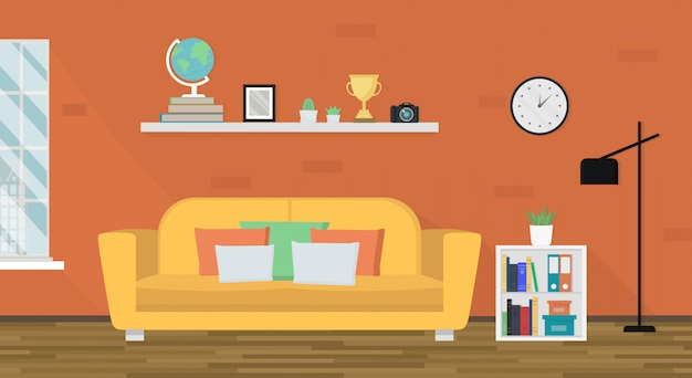 Cozy living room with furniture. soft yellow sofa, shelf, floor lamp and window. interior design. modern apartment. home theme. Premium Vector