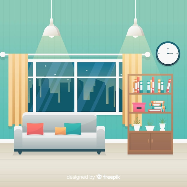 Cozy and modern living room with flat design Free Vector