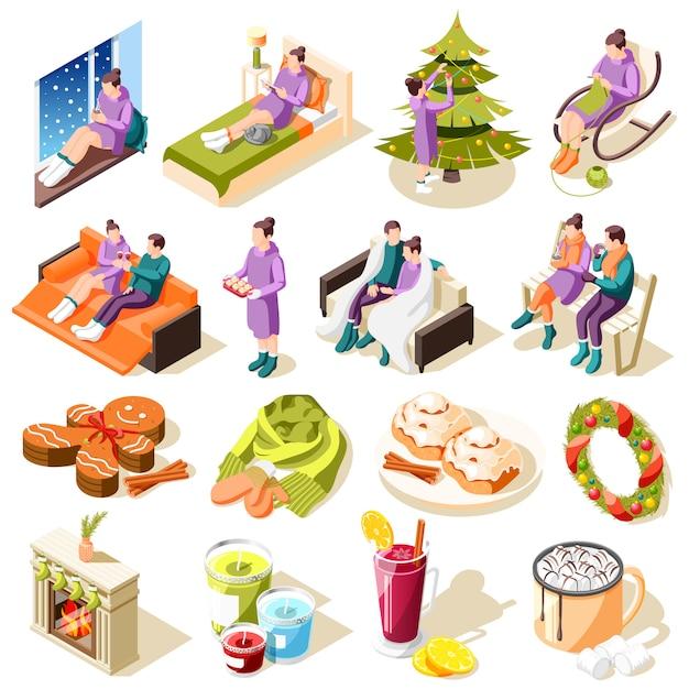 Le icone isometriche dell'inverno accogliente con l'alimento festivo e le decorazioni degli hobby domestici di comodità domestica hanno isolato l'illustrazione Vettore gratuito