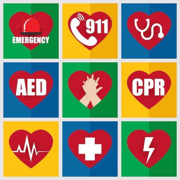 応急処置とcprについて緊急フラットアイコンのセット Premiumベクター