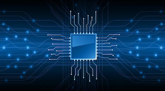 Cpu blue cyber circuit future technology concept background Premium Vector