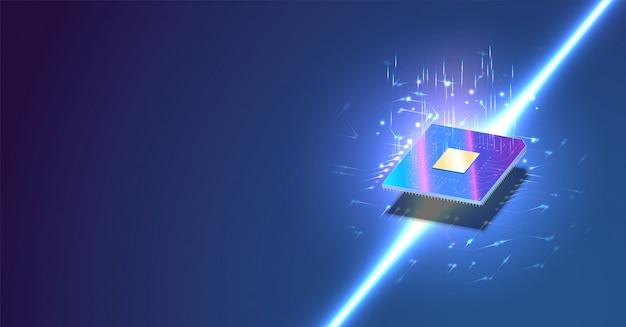 Cpu isometric banner. control computer processors cpu concept. Premium Vector