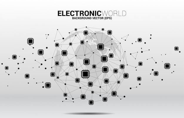 Cpuアイコンポリゴンドット接続線と地球儀。グローバルプロセッサテクノロジの概念 Premiumベクター