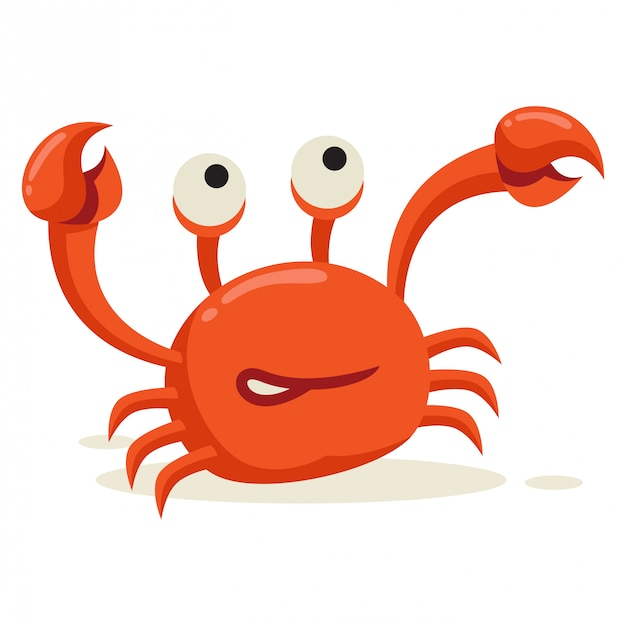A crab lifts its leg in white background Premium Vector