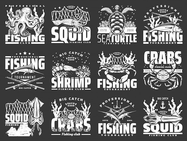 Crab seafood and tuna fish icons. fishing sport Premium Vector