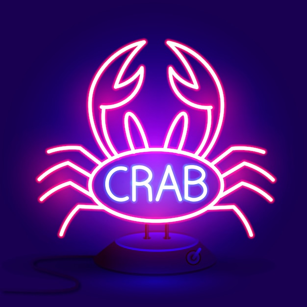 Crab sign with neon light glowing vector illustration Premium Vector