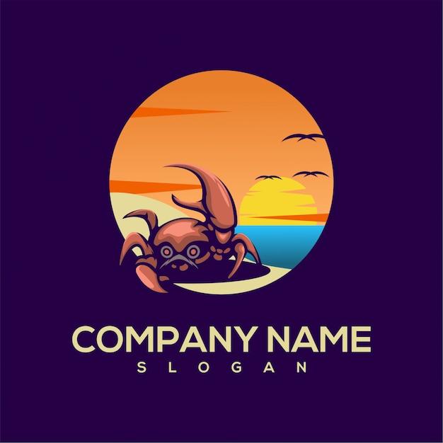 Crab summer logo Premium Vector