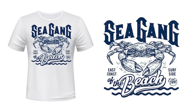 Crab t-shirt print mockup, surfing club waves Premium Vector