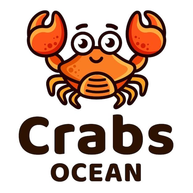 Crabs ocean kids симпатичный логотип Premium векторы