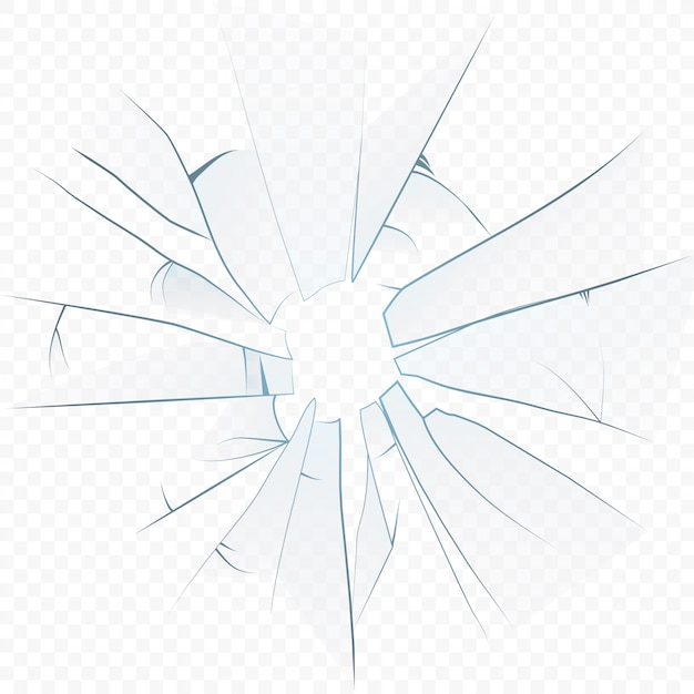 Cracked crushed realistic glass on the transperant alpha background. Premium Vector